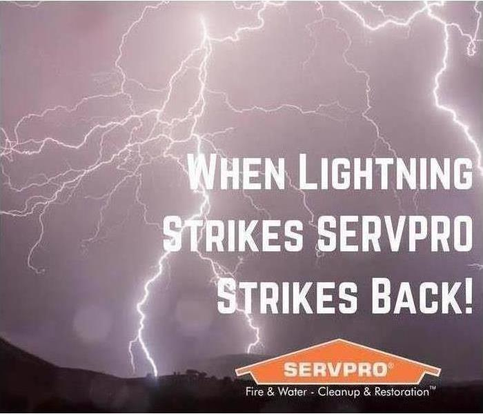 A dark sky with multiple lighting bolts, says when lightning strikes SERVPRO strikes back!