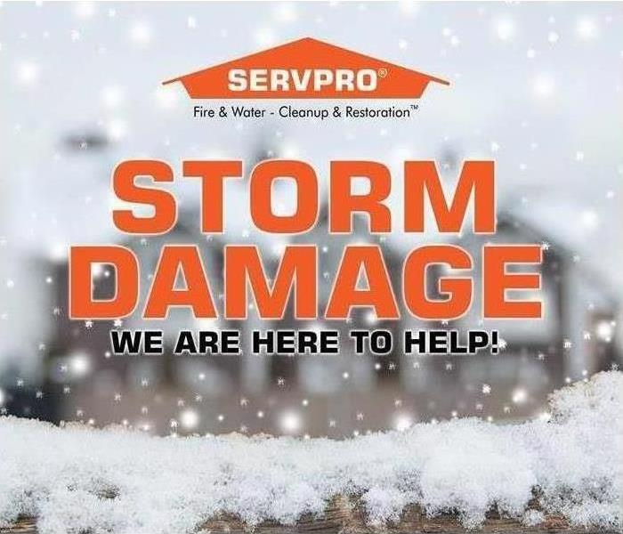 Snowy background, says Storm Damage, We are here to help, with SERVPRO logo at the top